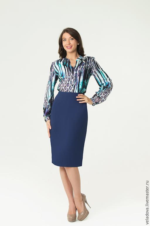 """Большие размеры ручной работы. Ярмарка Мастеров - ручная работа. Купить Блузка """"Палитра синего"""". Handmade. Синий, разноцветный"""