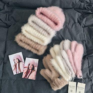 Аксессуары handmade. Livemaster - original item Cloud set: hat and mittens. Handmade.