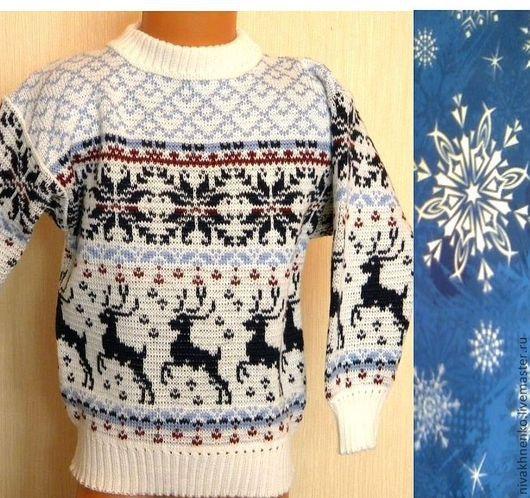 Sweatshirts & Sweaters handmade. Livemaster - handmade. Buy Sweater with reindeer and Norwegian ornament.Author's knitwear, white