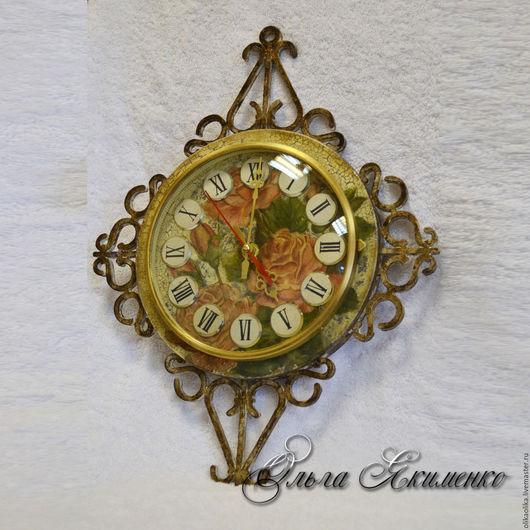 Часы для дома ручной работы. Ярмарка Мастеров - ручная работа. Купить Часы настенные Винтаж. Handmade. Коричневый, часы на кухню