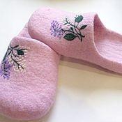 """Обувь ручной работы. Ярмарка Мастеров - ручная работа Тапочки """"Сирень"""". Handmade."""