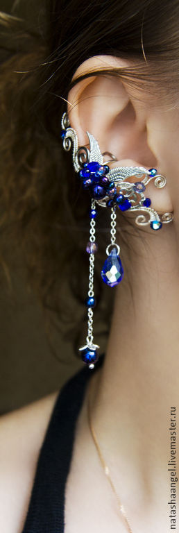 """Каффы ручной работы. Ярмарка Мастеров - ручная работа. Купить Кафф """"Dark Blue Angel"""" (темно синий цвет, синие серьги клипсы, крылья). Handmade."""