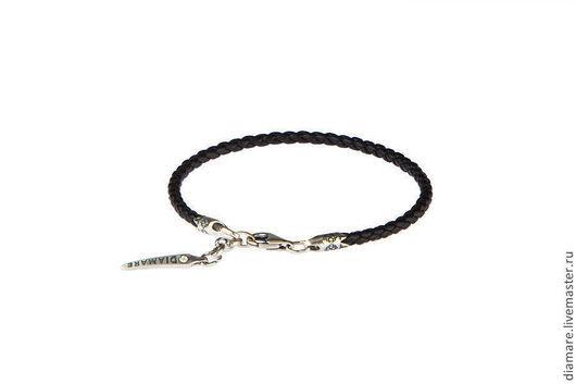 07-03300(18).Кожаный браслет BLACK для шарм подвесок.