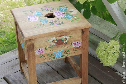 """Мебель ручной работы. Ярмарка Мастеров - ручная работа. Купить Табурет """"COUNTRY"""". Handmade. Комбинированный, ящик деревянный, мебель для дачи"""