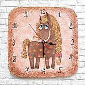 Для дома и интерьера handmade. Livemaster - original item Wall clock for children Pony with apples. Handmade.