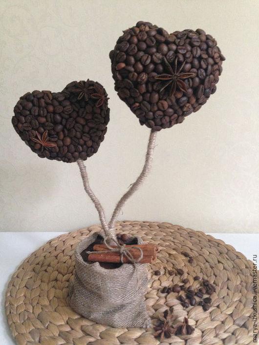 Топиарии ручной работы. Ярмарка Мастеров - ручная работа. Купить Кофейные сердца. Handmade. Коричневый, топиарий дерево счастья, Топиарии