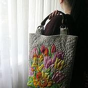 Сумки и аксессуары ручной работы. Ярмарка Мастеров - ручная работа Льняная сумка   вышитая   Цветы весны. Handmade.