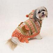 Для домашних животных, ручной работы. Ярмарка Мастеров - ручная работа Вязаное платье пончо для собаки. Handmade.