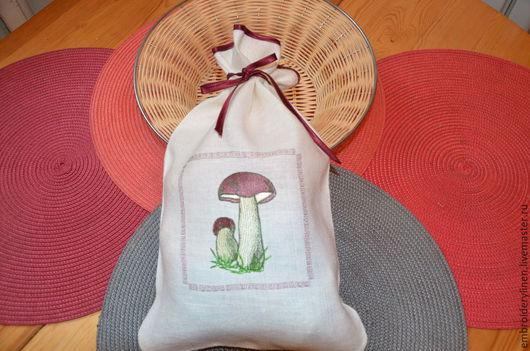 """Кухня ручной работы. Ярмарка Мастеров - ручная работа. Купить Льняной мешочек для грибов """"Боровичок"""". Handmade. Белый, мешочек для мелочей"""