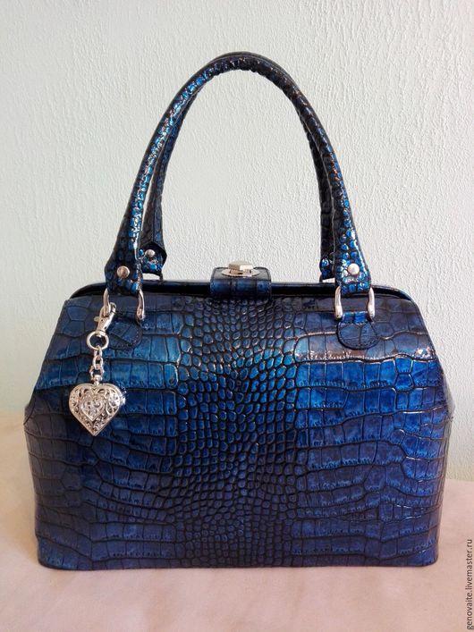 Женские сумки ручной работы. Ярмарка Мастеров - ручная работа. Купить Саквояж кожаный. Handmade. Синий, сумка ручной работы
