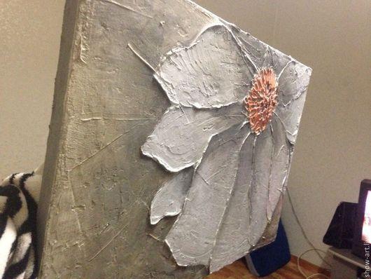 """Картины цветов ручной работы. Ярмарка Мастеров - ручная работа. Купить Рельефная картина """"Ранняя весна"""". Handmade. Серый"""