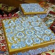 Для дома и интерьера ручной работы. Ярмарка Мастеров - ручная работа Пара: коробка под чайный сервиз и чайная коробка с секциями. Handmade.