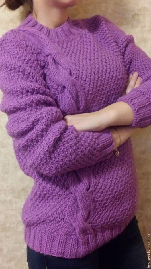 Кофты и свитера ручной работы. Ярмарка Мастеров - ручная работа. Купить Ассиметрия. Handmade. Фиолетовый, свитер спицами, свитер женский