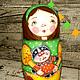 Развивающие игрушки ручной работы. Девочки и котики. Матрешка 5-ти местная в зеленом. Елизавета Матрешкино лукошко. Интернет-магазин Ярмарка Мастеров.