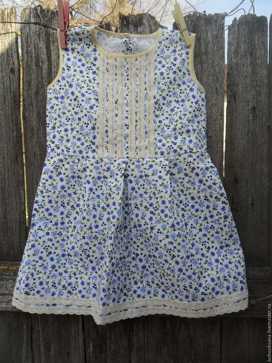 """Одежда для девочек, ручной работы. Ярмарка Мастеров - ручная работа. Купить """"ВАСИЛЬКИ"""" Платье на девочку в стиле Бохо из хлопка в цветочек.. Handmade."""