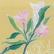 """Картины и панно ручной работы. Ярмарка Мастеров - ручная работа Картина """"Цветы альстрамерии"""" для дома и для интерьера горчичный. Handmade."""