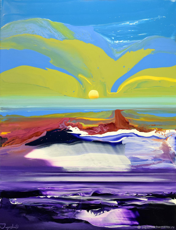 Пейзаж ручной работы. Ярмарка Мастеров - ручная работа. Купить На другой стороне 3(85х65см). Handmade. Абстракция, голубой, пейзаж