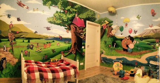 Детская ручной работы. Ярмарка Мастеров - ручная работа. Купить Интерьер детской. Handmade. Комбинированный, интерьер, акриловые краски