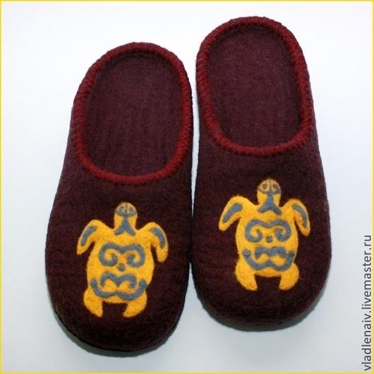 """Обувь ручной работы. Ярмарка Мастеров - ручная работа. Купить Тапочки  из шерсти """"Черепахи"""". Handmade. Обувь ручной работы"""