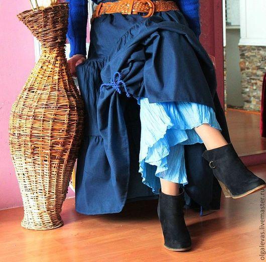 Юбки ручной работы. Ярмарка Мастеров - ручная работа. Купить Юбка бохо  длинная Осень джинс.. Handmade. Тёмно-синий