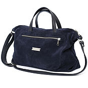 Сумки и аксессуары handmade. Livemaster - original item Blue suede soft Bag with shoulder strap and handles. Handmade.