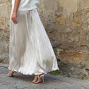 Одежда ручной работы. Ярмарка Мастеров - ручная работа Серебряная коктейльная плиссированная макси юбка, большие размеры. Handmade.