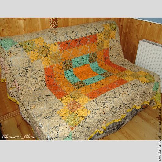 Текстиль, ковры ручной работы. Ярмарка Мастеров - ручная работа. Купить Ажурное вязаное покрывало. Handmade. Ажурное покрывало вязка