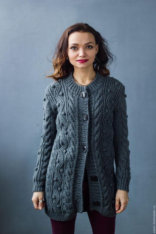 """Кофты и свитера ручной работы. Ярмарка Мастеров - ручная работа. Купить Кардиган вязаный """"Gray"""". Handmade. Темно-серый"""