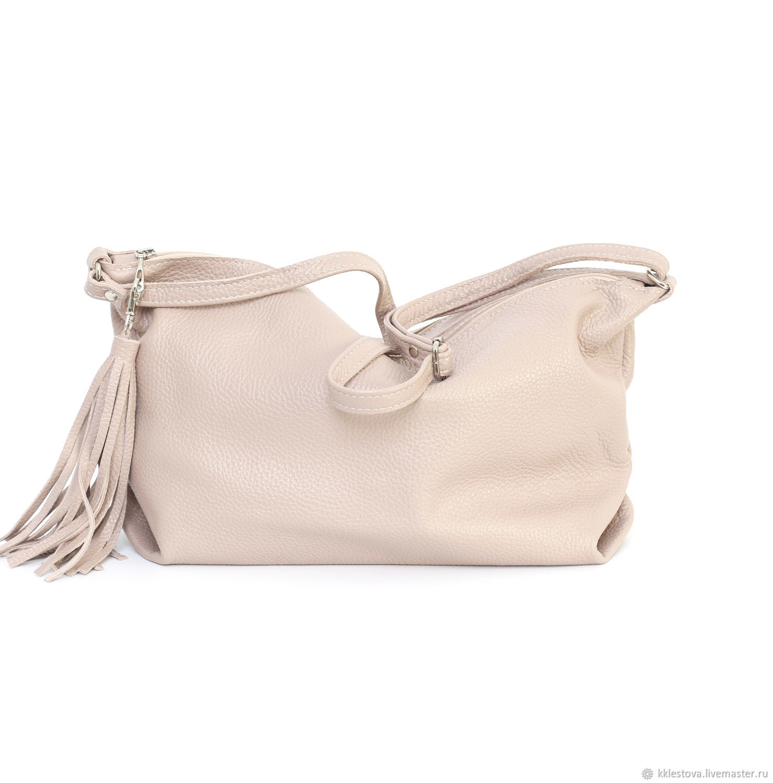 Handbags handmade. Ashes rose soft leather shoulder Bag with crossbody  strap. BagsByKaterinaKlestova. 969653c97c25e