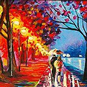 Картины и панно handmade. Livemaster - original item Oil painting palette knife couple in love, alley, lanterns, autumn. Handmade.