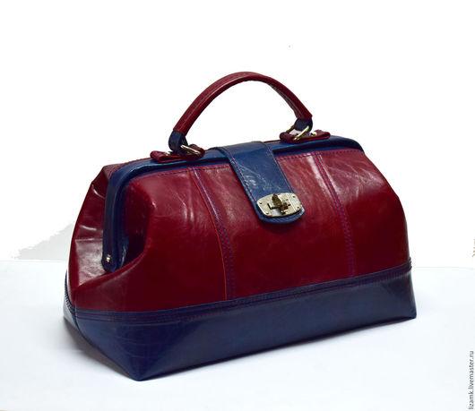 Женские сумки ручной работы. Ярмарка Мастеров - ручная работа. Купить Саквояж Бордо Комби..... Handmade. Комбинированный, саквояж из кожи