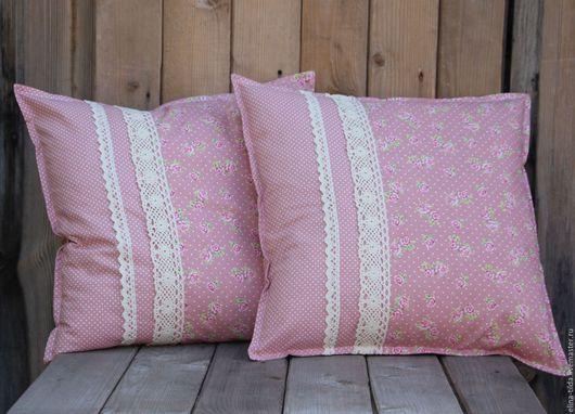 """Текстиль, ковры ручной работы. Ярмарка Мастеров - ручная работа. Купить Интерьерные подушки """"Винтажная роза"""" в стиле шебби-шик. Handmade."""