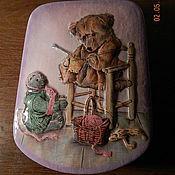 """Для дома и интерьера ручной работы. Ярмарка Мастеров - ручная работа шкатулка """"Мишка вяжет"""" продано. Handmade."""