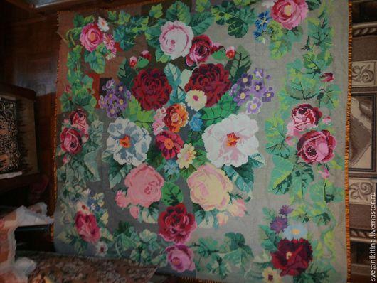 Текстиль, ковры ручной работы. Ярмарка Мастеров - ручная работа. Купить Розы. Handmade. Покрывало на кровать, разноцветный, канва