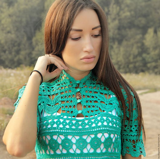 Платья ручной работы. Ярмарка Мастеров - ручная работа. Купить Вязанное крючком платье изумрудного цвета. Handmade. Зеленый, хлопок