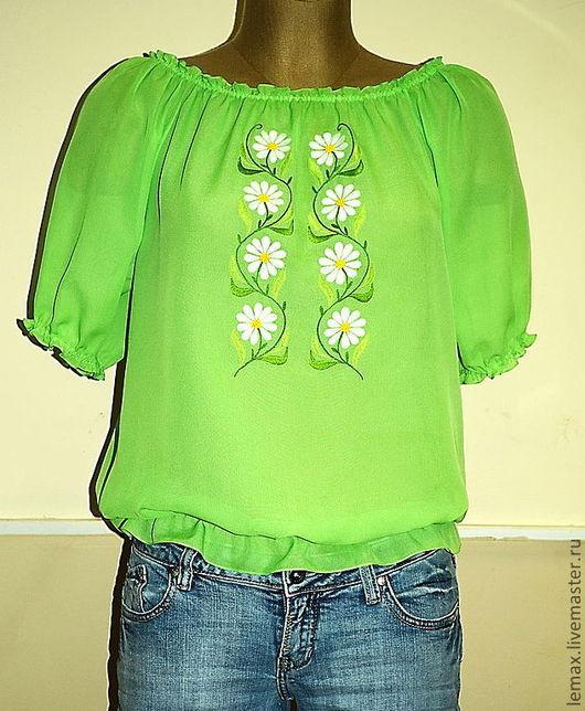 """Блузки ручной работы. Ярмарка Мастеров - ручная работа. Купить Блуза """"Ромашковое поле"""". Handmade. Салатовый, ручная работа, заказать"""