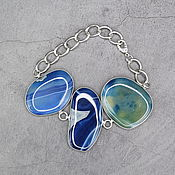 Украшения handmade. Livemaster - original item Bright blue bracelet natural agate. Handmade.