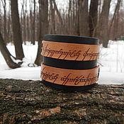 Украшения handmade. Livemaster - original item Wide leather bracelet with engraving One ring. Handmade.