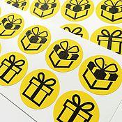 Материалы для творчества ручной работы. Ярмарка Мастеров - ручная работа Наклейки Подарок 12 шт. Handmade.