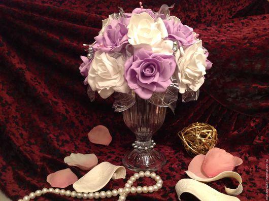 Вазы ручной работы. Ярмарка Мастеров - ручная работа. Купить Композиция интерьерная. Handmade. Сиреневый, розы из фоамирана, ленты декоративные