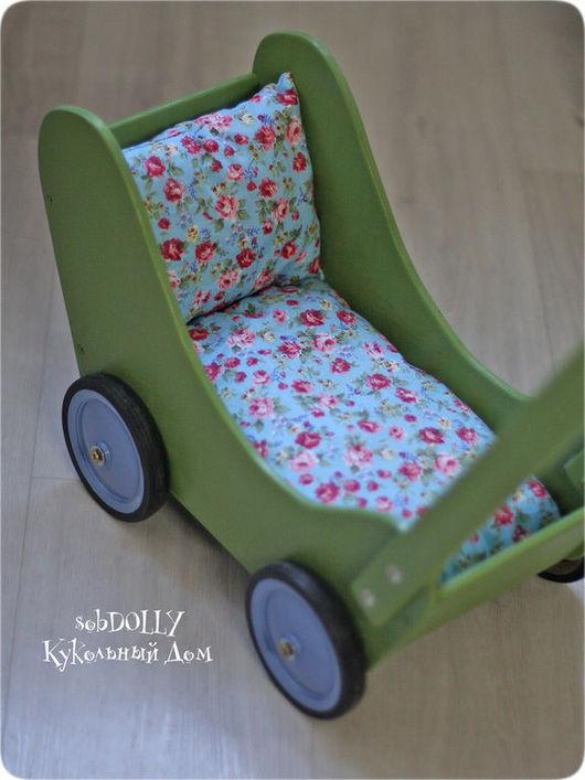 Кукольный дом ручной работы. Ярмарка Мастеров - ручная работа. Купить Оливка (макси) - деревянная коляска с подушками для кукол. Handmade.
