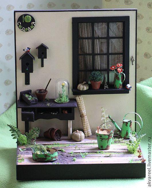 """Кукольный дом ручной работы. Ярмарка Мастеров - ручная работа. Купить Румбокс """"Садовый"""". Handmade. Румбокс, интерьерная игрушка, дача"""