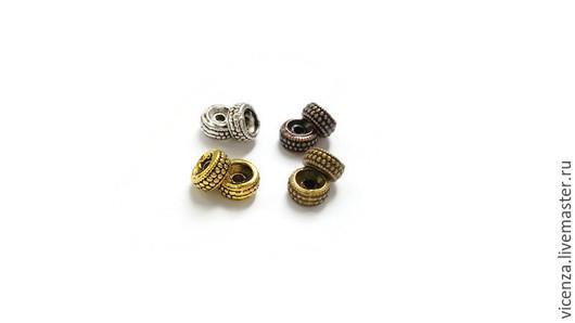 Для украшений ручной работы. Ярмарка Мастеров - ручная работа. Купить Плоские бусины 7 х 3 мм (серебро, бронза, золото, медь). Handmade.