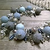 Украшения handmade. Livemaster - original item set with bracelet chain cool colors with felt beads. Handmade.