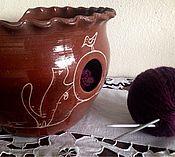 """Для дома и интерьера ручной работы. Ярмарка Мастеров - ручная работа Бронь. Ваза для вязальщиц, клубочница """"кошки"""" глазурованная.. Handmade."""