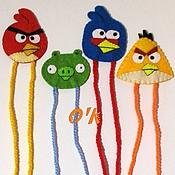 Канцелярские товары ручной работы. Ярмарка Мастеров - ручная работа Закладки для книг/учебников по мотивам Angry Birds (из фетра). Handmade.