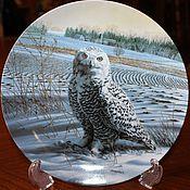 Винтаж handmade. Livemaster - original item Four collectable plates with owls Edwin Knowles, USA.. Handmade.