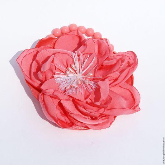 """Браслеты ручной работы. Ярмарка Мастеров - ручная работа. Купить Флёр-браслет """"Коралловый пион"""" (Fleur-braslet """"Coral Peony""""). Handmade."""