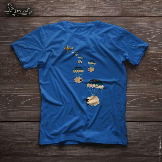 Футболки, майки ручной работы. Ярмарка Мастеров - ручная работа. Купить Ручная роспись футболка парашют подарок мужчине. Handmade.