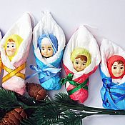 Christmas decorations handmade. Livemaster - original item Cotton toy - baby in blanket. Handmade.